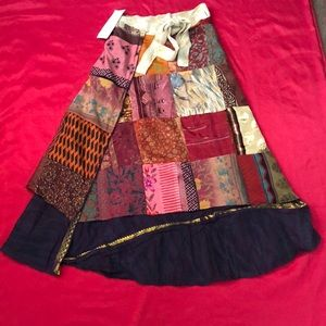 Patch work wrap skirt